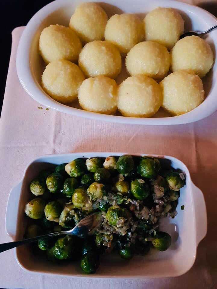 Potato dumplings and Brussel sprouts. Knödel, Rosenkohl