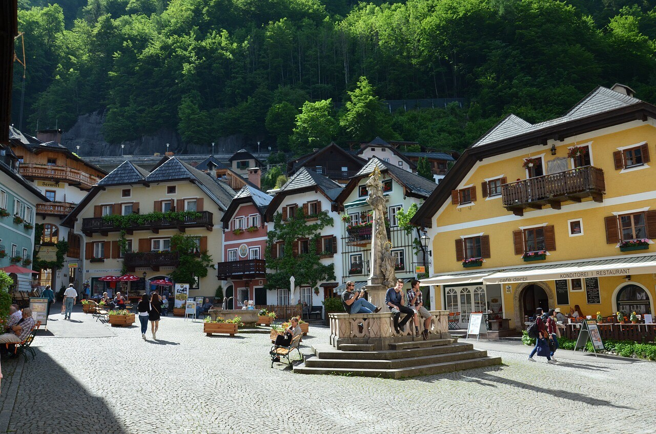 Hallstatt, Austria market place, village fountain
