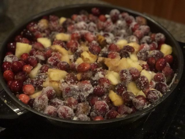 Apple Cranberry Chutney preparation