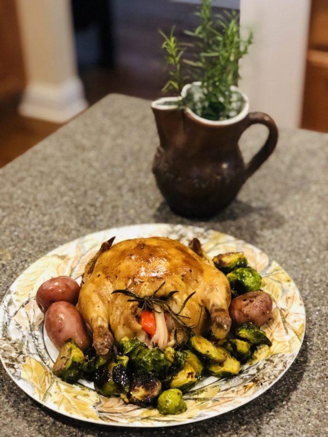 Balsamic glazed Cornish Hens