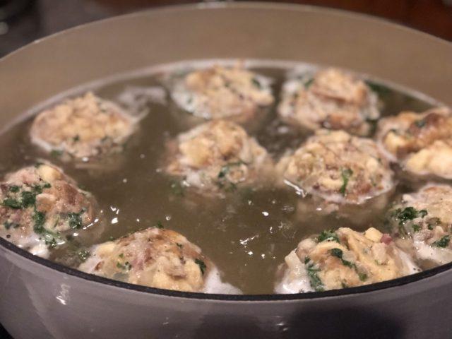 Pretzel dumplings, Brezel Knödel boiling in hot water