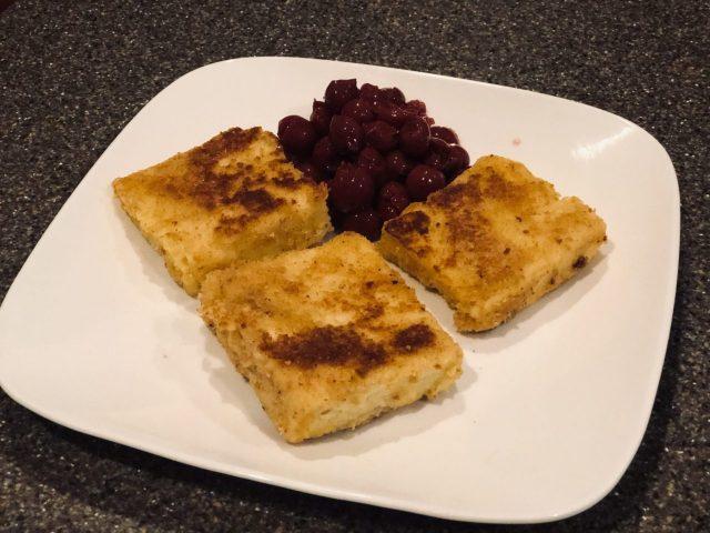 Semolina flour cakes, Griess Schnitten with tart cherries