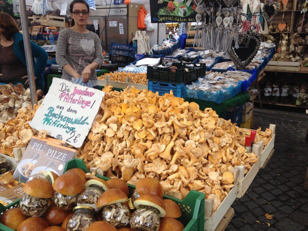 Pfifferlinge Mushrooms, Munich Viktualienmarkt
