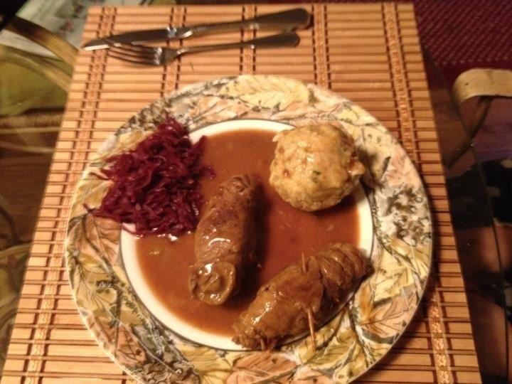 German Beef Rouladen with Semmelknödel
