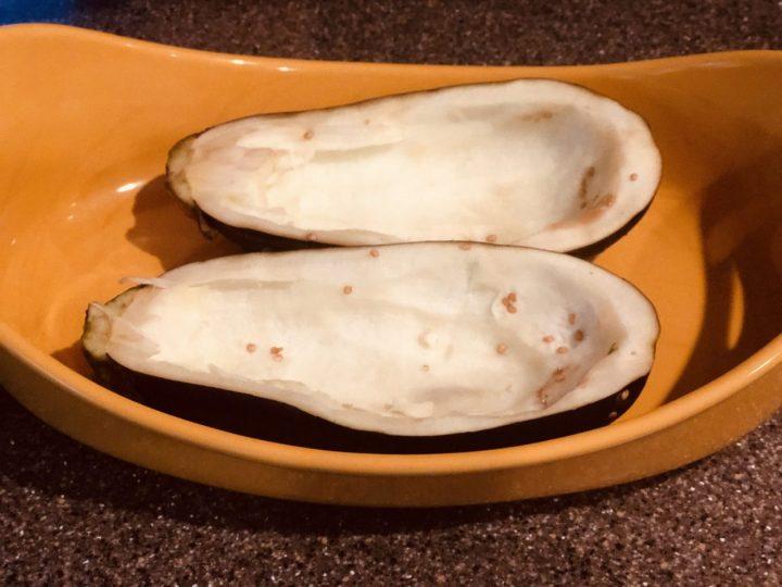 scooped eggplantor Aubergine