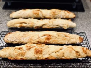 Crusty no-knead French baguette