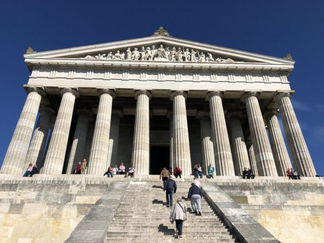 Walhalla Monument. Stepping down some very deep stairs