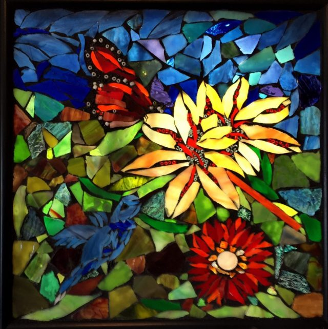 Angie's Glass Mosaik, flowers and butterflies