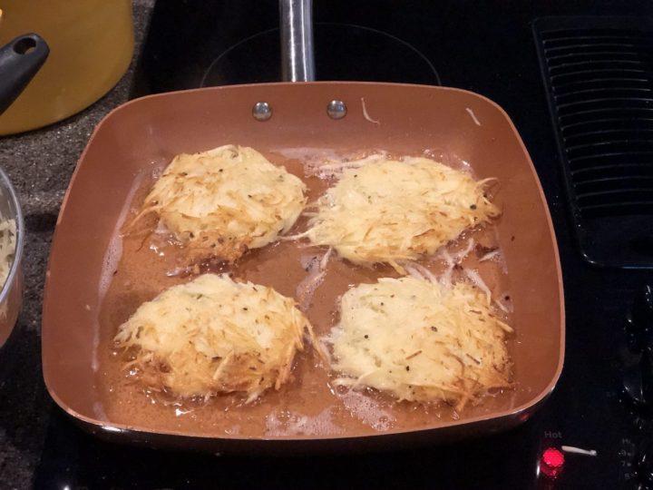Potato pancakes in pan