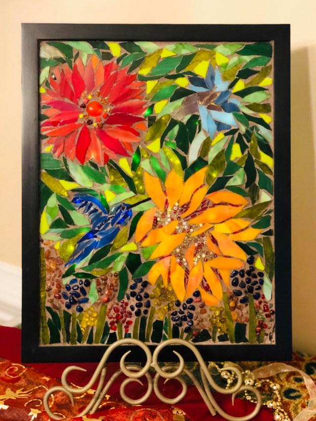 Flowers and hummingbird glass mosaic GermaniaDesign.com