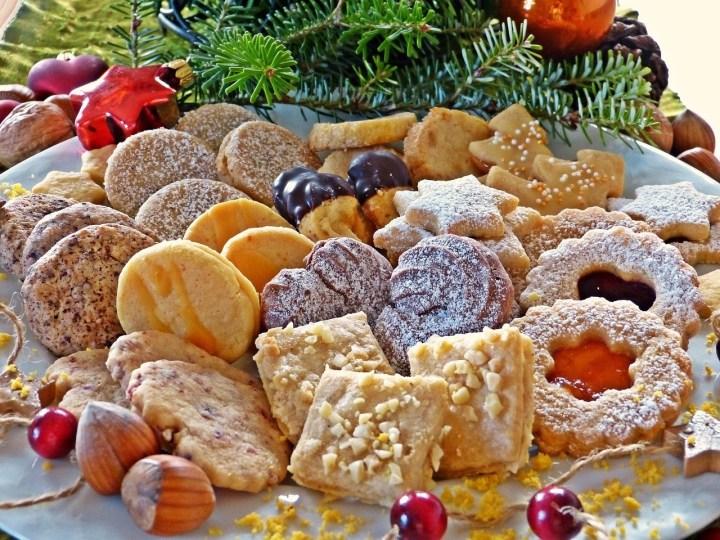 German Christmas Cookies on plate, Weihachtsplätzchen