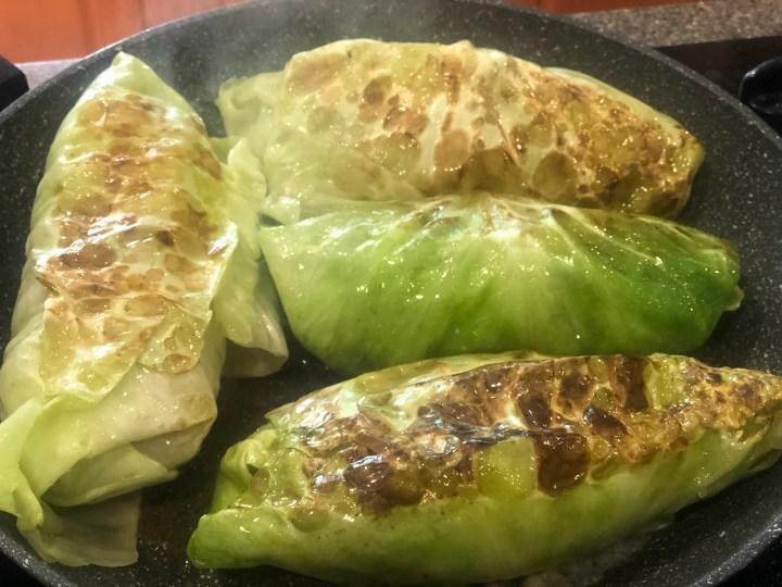 Cabbage rolls, Krautwickel, Kohlrouladen fryng in pan