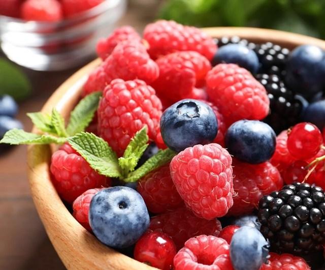 Raspberries, Blueberries in a bowl