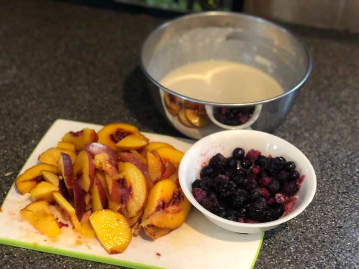 Peach and Berry Cobbler ingredients