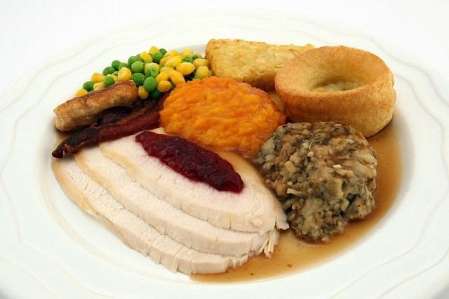 Turkey plate, stuffing, cranberry chutney