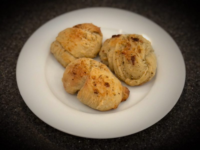 Baked Garlic knots on plate