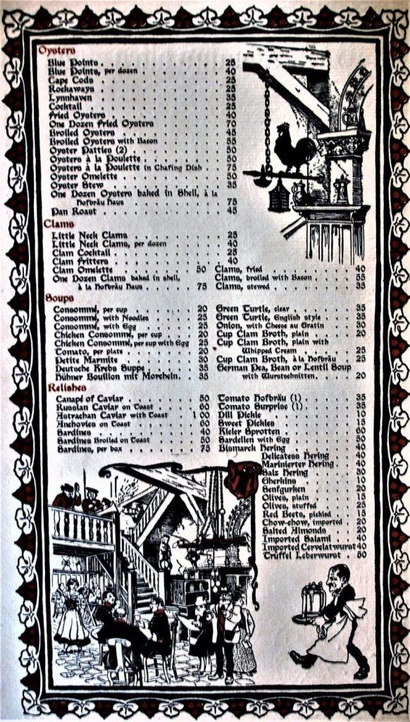 Hofbräuhaus 1908 New York Menu