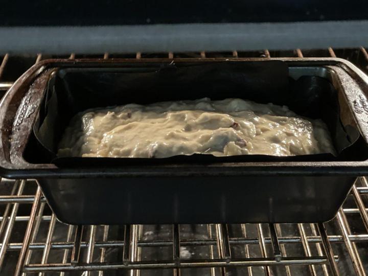 Banana Walnut Bread in the oven