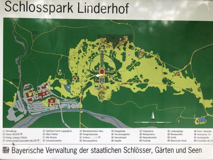 Linderhof castle with Gardens map