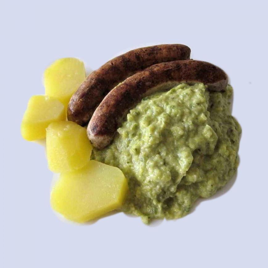 Savoy cabbage, Wirsinggemuese, Bratwurst, potatoes