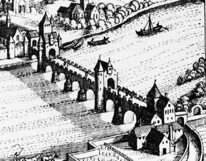 Römerbrücke Kupferstich 1646 (per Wikimedia)