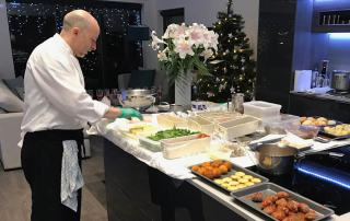 private chef preparing food for anglers