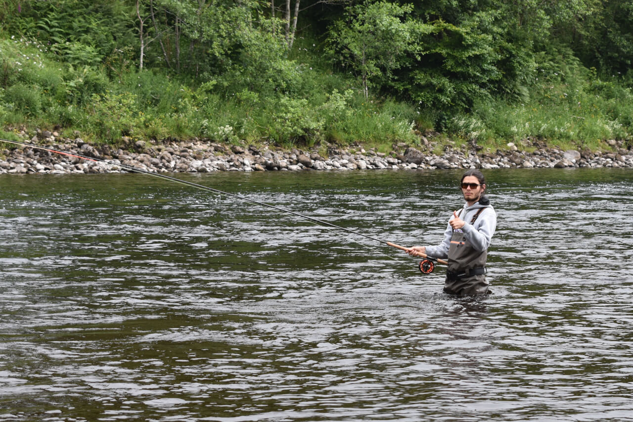 trying salmon fishing in scotland for the first time