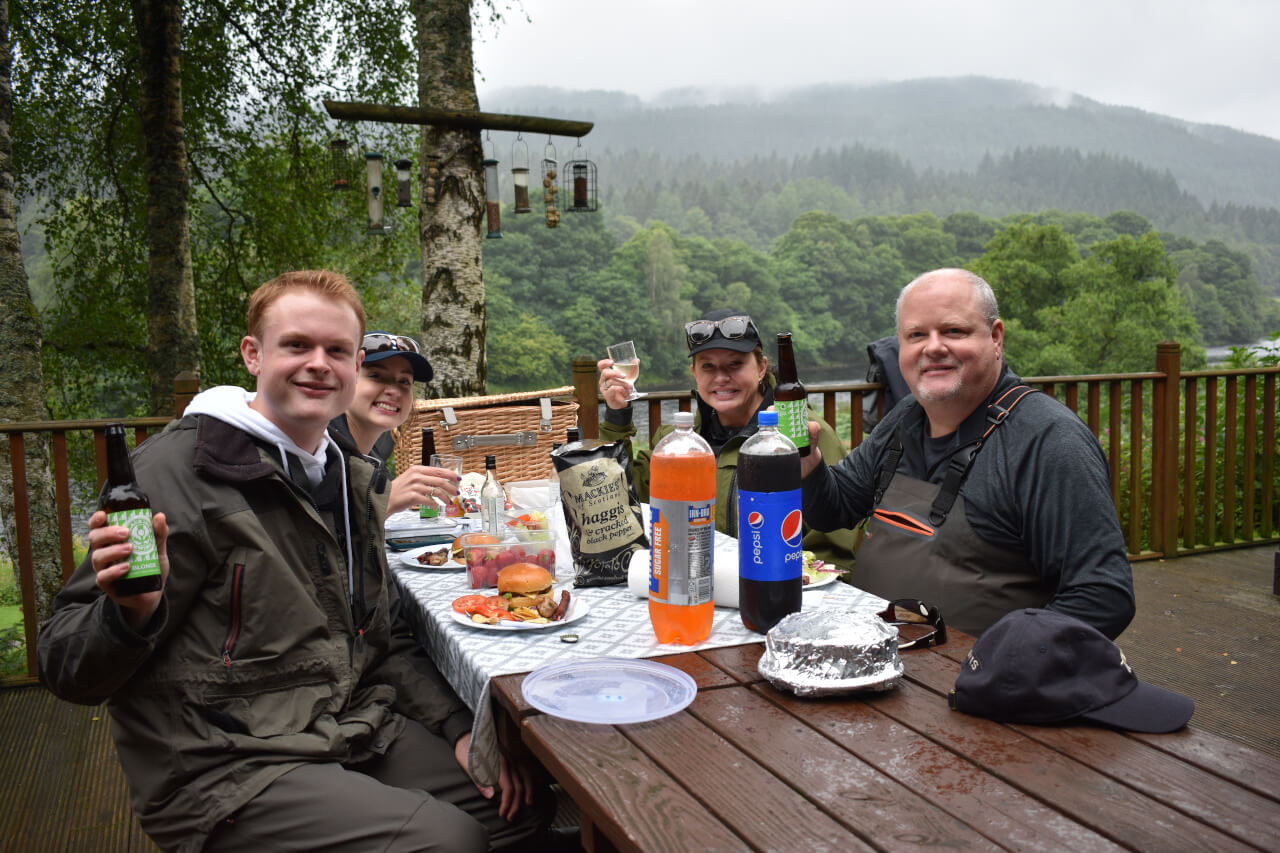 scottish lunch during family fishing vacation