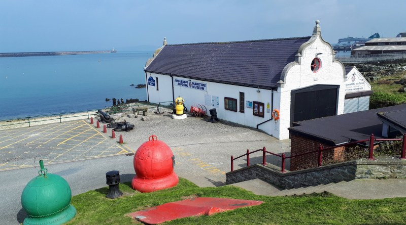 The picture show the Holyhead Maritime Museum from the small hill to the rear, the sea and harbour in the background