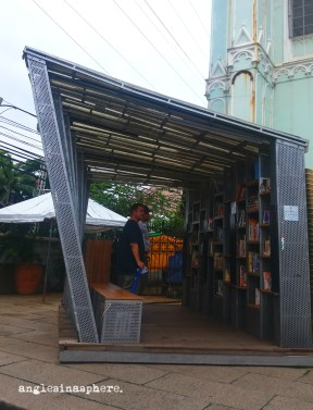 * The Book Stop, a mobile project library, made the Basilica its temporary home that month.