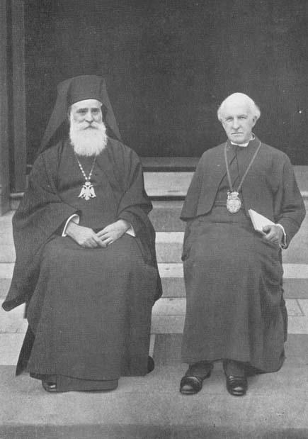 """""""Patriarhul"""" mason Meletie Metaxakis împreună cu """"arhiepiscopul"""" anglican Gordon Lang"""
