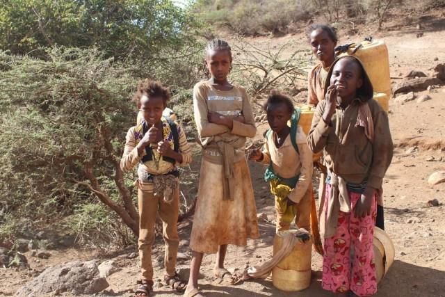 Girls collecting water Marsabit