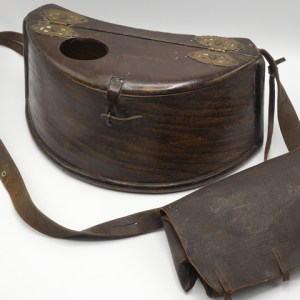 A 19th Century steamed wooden demi-lune trout fisher's creel,