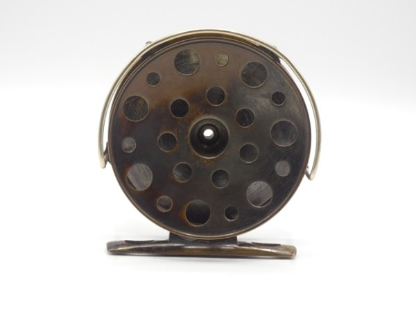 """A fine and rare Hardy 1891/2 Brass Perfect 4 ¼"""" salmon fly reel,"""