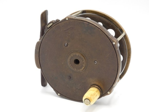 """A very rare Hardy 1892 Brass Perfect 4"""" salmon fly reel,"""