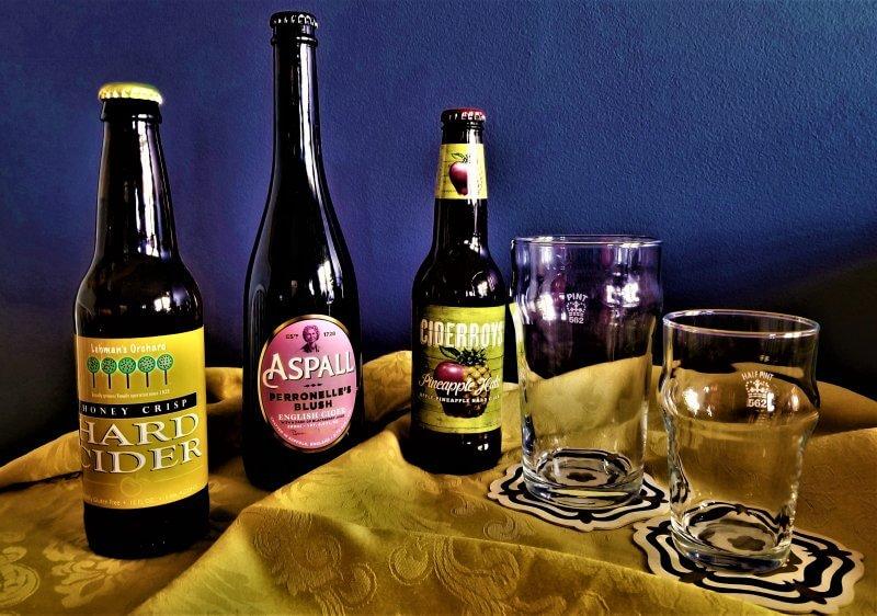 Cider bottles and glasses