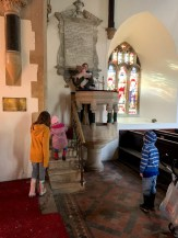 The kids love the pulpit!