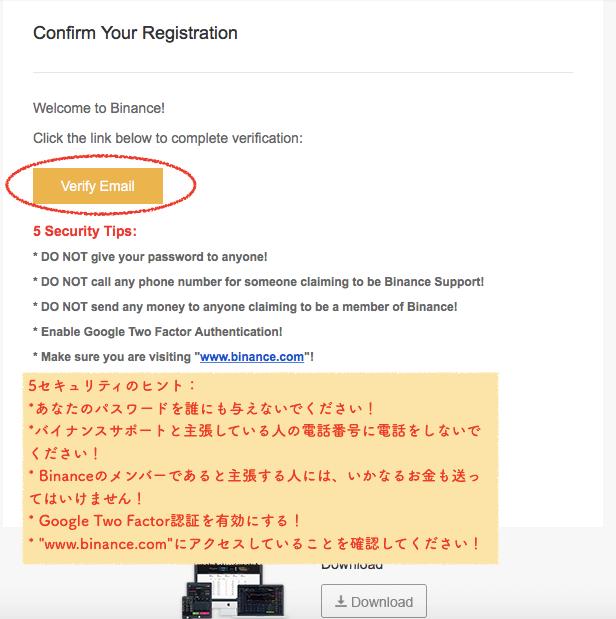 Binanceからのメール本文
