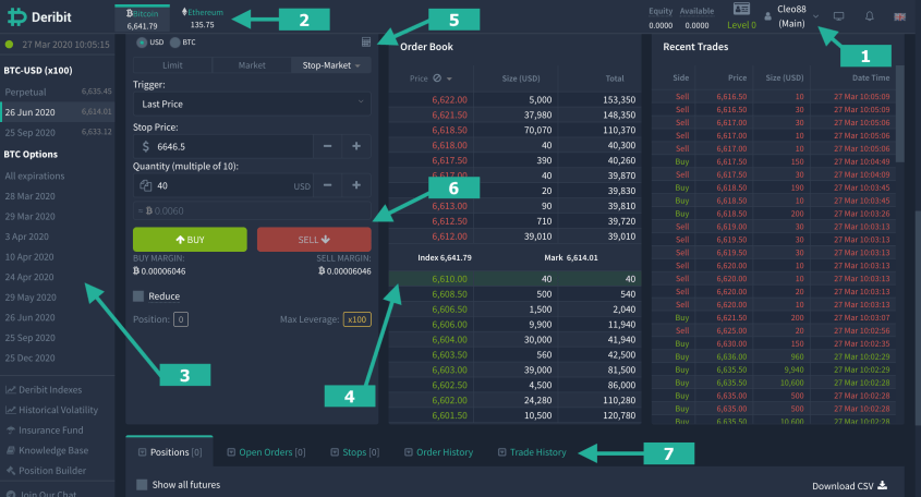 Easy steps to trade perpetual contracts, Deribit WebTrader