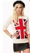 Girl in British top