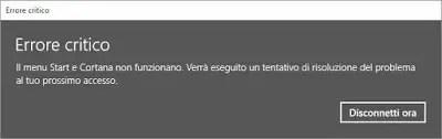 Errore critico di Cortana