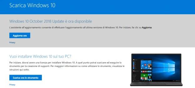 Scarica Windows 10 attraverso diversi metodi
