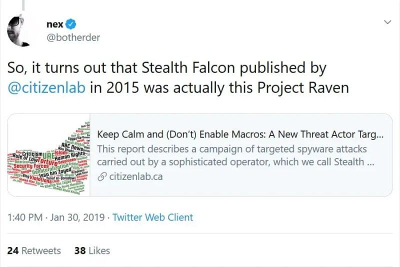 Il gruppo dietro alla backdoor è Stealth Falcon