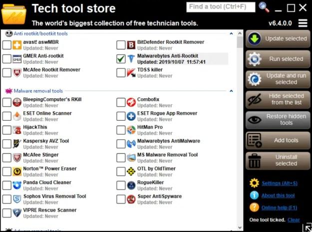 L'interfaccia principale di Tech tool store