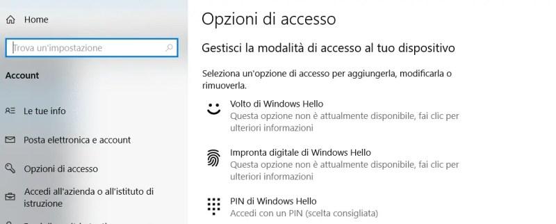 Tre modalità di accesso con Windows Hello