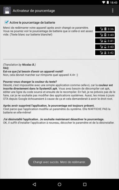 Activer le pourcentage de batterie sur son Nexus sans root !