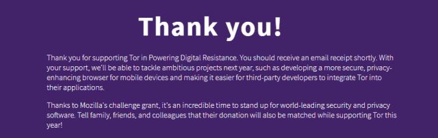 Message de remerciement Tor