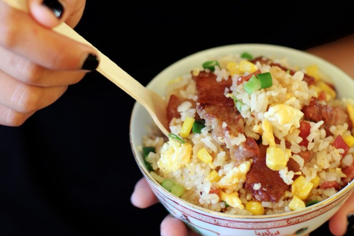 Crispy Pork Cheeks and Bacon Fried Rice Wide