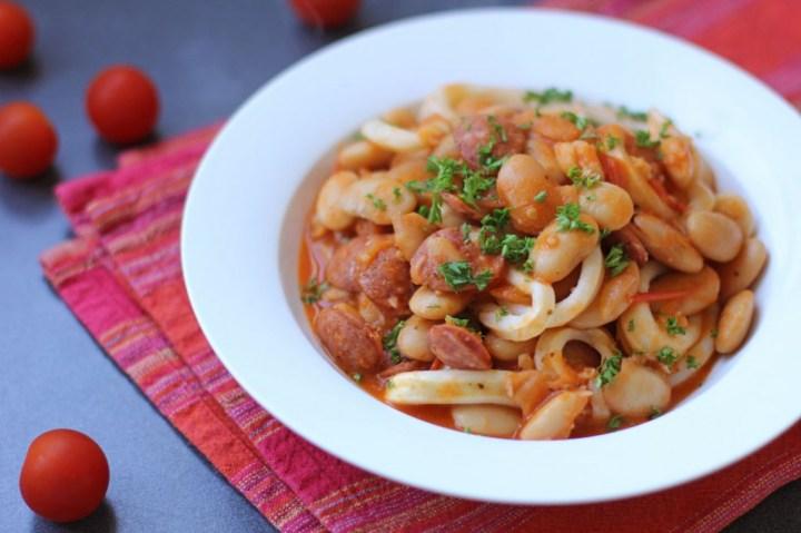 Sauté of Calamari, Chorizo, Butterbeans Wide