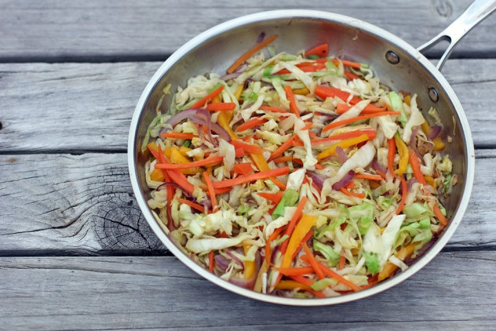 Stir Fried Cabbage and Carrots Wide